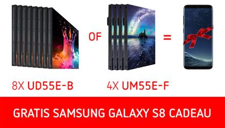 Samsung Galaxy S8 kado bij Samsung videowall displays